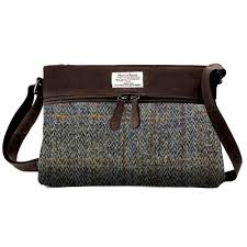 carloway las harris tweed leather handbag