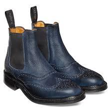 victoria r wingcap brogue chelsea boot in navy grain leather