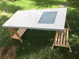 ikea drafting table desk with adjule top lightbox and ikea finnvard trestles