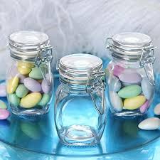 efavormart 12 jars 4oz clear small glass jars w glass lidetal bails for favor candy buffet event decor