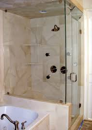 interior double corner shower shelves in glass shower stalls with stainless handle and beige wall