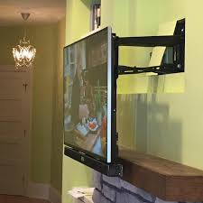W Pull Down Tv Mount Over Fireplace Practical Mounting Service Home  Theater Installation Fort Mill Sc