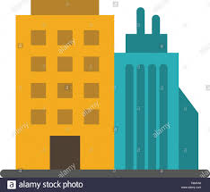 Office Banner Template Building Office Tower Head Office Flat Color Icon Vector