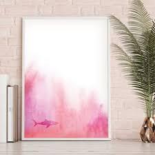 shark printable shark wall art pastel pink wall art marine on rose gold wall art large with pink gold modern art printable rose gold wall art minimalist large
