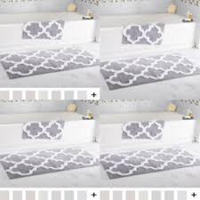 2 piece bath mat set silver european moroccan trellis cotton bathroom rug gray