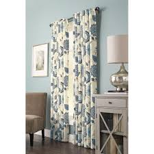 home decorators collection semi opaque indigo fl cottage tab top curtain 54 in w x 95 in l 1 panel 1627859 the home depot