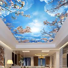 custom wall mural painting blue sky white clouds peach blossom ceiling modern designs 3d living room bedroom ceiling wallpaper images on wallpaper images to