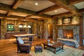 craftsman style man cave lounge with home bar fireplace and pool table