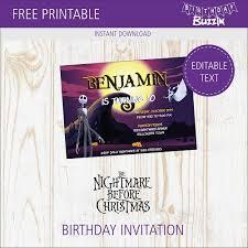 Christmas Birthday Party Invitations Free Printable Nightmare Before Christmas Birthday Party Invitations