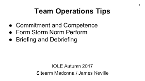 Form Storm Norm Perform Chart Team Operations Tips Iole Autumn 2017