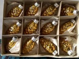 12 Alte Goldene Zapfen Weihnachtskugeln Christbaumschmuck Lauscha