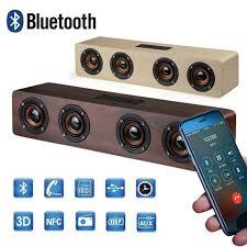 HiFi <b>Wooden</b> Wireless Bluetooth Speaker <b>20W</b> Column <b>TV</b> Sound ...