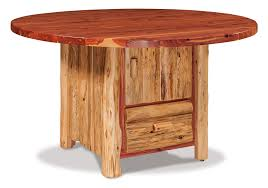 amish red cedar 54 round dining table with cabinet