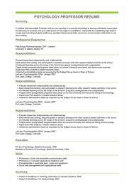 Sample Professor Resume Sample Psychology Professor Resume