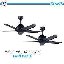 twin pack alpha ceiling fan af20 5b 42 black