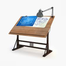 Photo 1 of 8 Blueprint Desk With Lamp 3d Model Rigged Max Obj Fbx Mtl 1 .  (awesome Blueprint