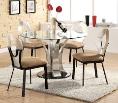 image of new round glass dining table set