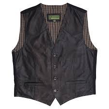 mens leather waistcoat black 004