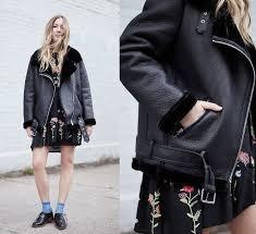 uk black faux leather shearling fur collar aviator biker jacket coat s xl