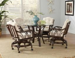 Chair Pastel Minson Atrium Five Piece Metal Wood Pedestal Table - Casters for dining room chairs