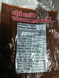 Green Mill Nutrition Chart Whole Wheat Bread Old Mill