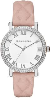 women s michael kors norie pink quilted leather strap watch mk2617 loading zoom