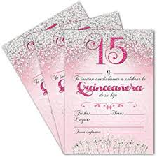 Quincenera Invitations 25 Quinceanera Party Invitations 5x7 Double Sided Cards For Girls 15th Birthday Includes Envelopes Spanish En Espanol