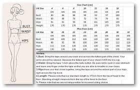 Bridesmaid Dress Size Chart Size Guide Women Size Charts For Womens Clothes