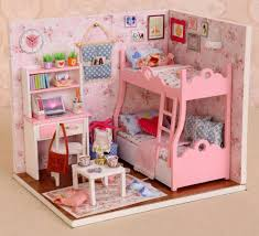 pink dolls house furniture. 2018 Pink Doll House Handmade Birthday Gift Assembled Toy Diy Architectural Model Mood For Love Miniature Dollhouse Furniture Kits Wooden Dolls Houses E