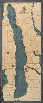 Torch Lake 3 D Nautical Wood Chart 13 5 X 31 Driftwood Grey Frame