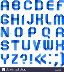 Alphabet Folded Of Colored Paper Blue Letters A B C D E F