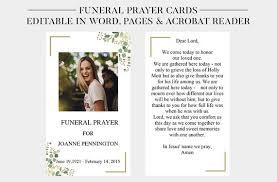 Funeral Prayer Cards Funeral Prayer Cards Printable Funeral Cards Memorial Etsy