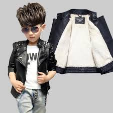kids winter jacket add cashmere pure black leather coat 2017 autumn and winter children s leather jackets rivet lapel baby shirt jacket kid rain jackets for