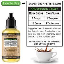Monk Drops 100 Monkfruit Liquid Sweetener Zero Glycemic Zero Calories Zero Sugar No Added Water Concentrated Monk Fruit 350 Servings 1 5 Fl