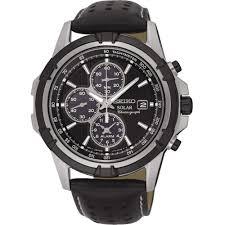 seiko men s solar black leather alarm chronograph watch product code ssc147p2