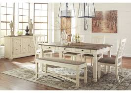 white rectangular dining table. Bolanburg Antique White Rectangular Dining Table W/Bench \u0026 4 Upholstered Side Chairs T