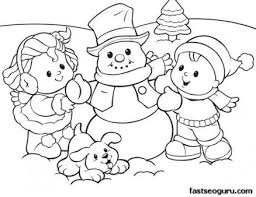 Small Picture Printabel coloring sheet of Christmas Kids And Snowman Printable