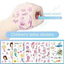 Karikatura Roztomilé Děti Vodotěsné Mořské Panny Dočasné Tetování Nálepka Tělo Umění Falešné Tetování