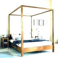 Twin Size Canopy Bed Full King Frame 4 Post White