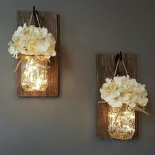 craft with fairy lights inside mason jars