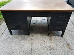 vintage 1950 s wood tanker desk with a retractable typewriter shelf rare