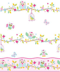 Owl Bedroom Wallpaper Patchwork Owl Wallpaper And Border White Pink Pastel Bedroom