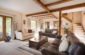 living room furniture color ideas. Open Style Country Living Room With White Wall And Brown Furniture Color Ideas