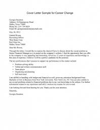 Cover Letter Career Change Sample The Letter Sample