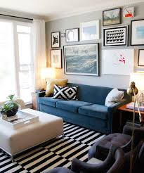 affordable home decor with blue sofa and l shade also white curtain window as well as