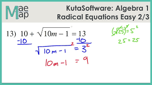 kuta algebra 1 radical equations easy part 2