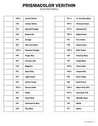 Prismacolor Pencil Blank Color Chart Free Prismacolor Verithin 36 Colors Pencil Chart In 2019