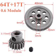 Rc Spur And Pinion Gear Chart 11184 Steel Metal Spur Diff Main Gear 64t Motor Pinion Gears