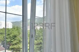 open window with curtains. Brilliant Curtains Stock Photo  The Plastic Window Is Open Open With Curtains And  Mountain Views And Window With Curtains