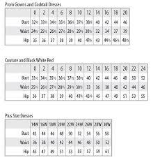 41 Ageless Prom Dress Sizing Chart
